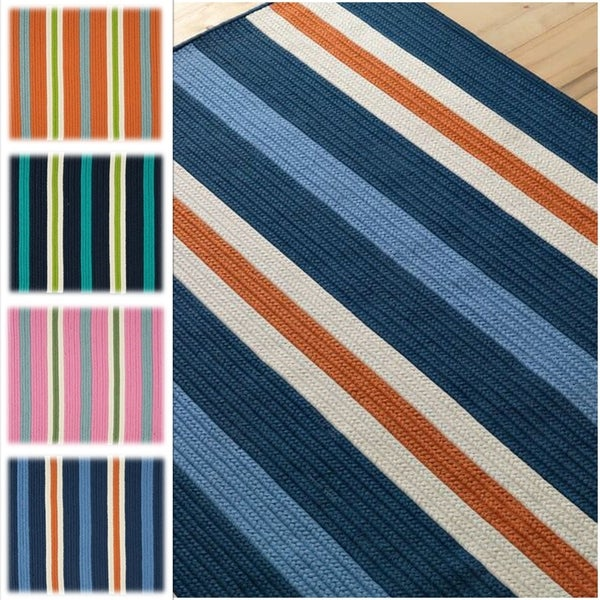 Sunset Stripe Indoor/Outdoor Braided Reversible Rug USA MADE - 7' x 10'