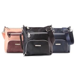 Suzy Levian Nylon Faux Crocodile Front Pocket Crossbody Handbag