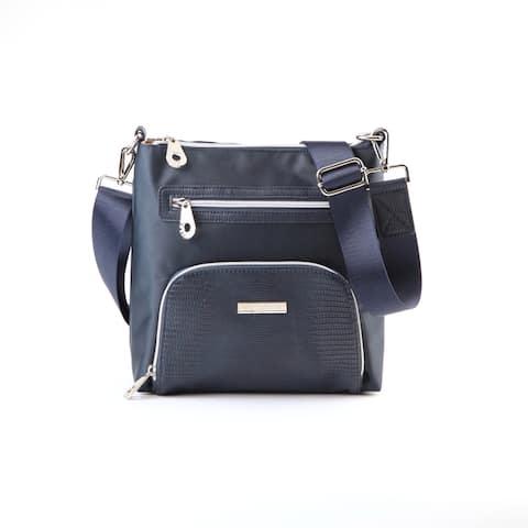 Suzy L. Nylon Faux Crocodile Front Pocket Crossbody Handbag