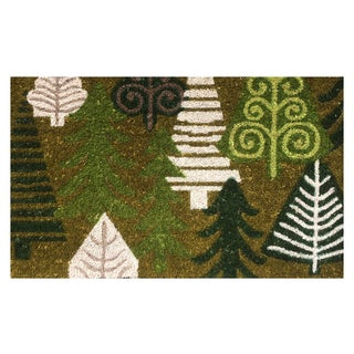 Christmas Trees Multicolor Vinyl-backed Coir Doormat (18 x 30)