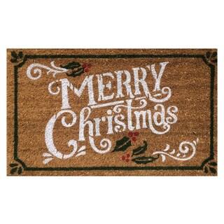'Merry Christmas' Multicolor Coir Vinyl-backed Doormat (1'6 x 2'6)