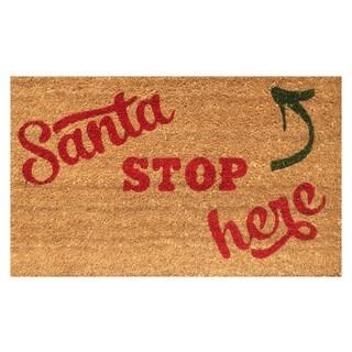 Santa Stop Here Christmas Vinyl-backed Coir Doormat (18x30)