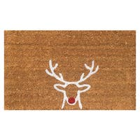 Red Nose Reindeer Christmas Vinyl Backed Coir Doormat (18 x 30)