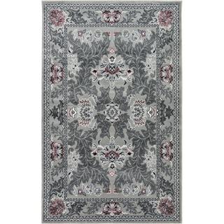 Grey Damask Rug (4' 11 x 8')