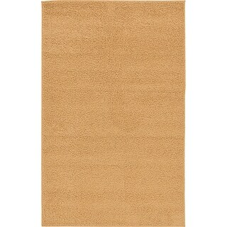 Light Brown Solid Basic Rug (4' 11 x 7' 10)