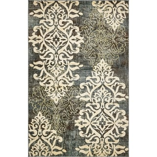 Unique Loom Turkish Damask Blue Abstract Area Rug (5' 1 x 8')