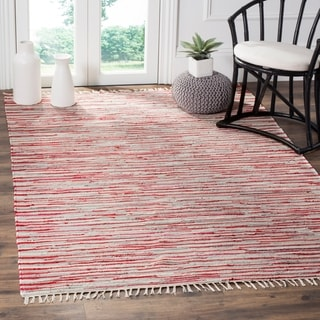Safavieh Hand-Woven Rag Cotton Rug Red/ Multicolored Cotton Rug (6' x 9')