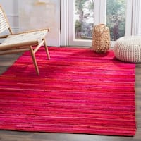 Safavieh Hand-Woven Rag Cotton Rug Red/ Multicolored Cotton Rug - 5' x 8'