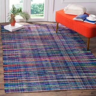 Safavieh Rag Cotton Rug Bohemian Handmade Blue/ Multi Cotton Rug (6' x 9')