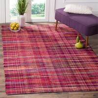 Safavieh Rag Cotton Rug Bohemian Handmade Red/ Multi Cotton Rug (6' x 9')