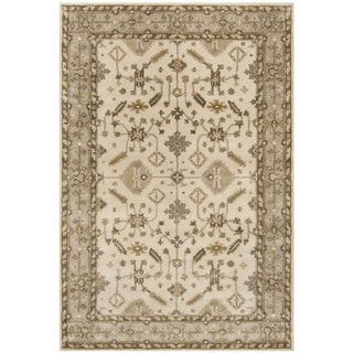 Safavieh Royalty Traditional Handmade Cream/ Light Grey Wool Rug (6' x 9')