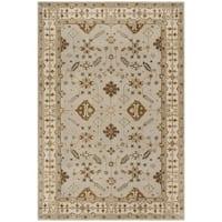 Safavieh Royalty Traditional Handmade Light Grey/ Cream Wool Rug - 6' x 9'