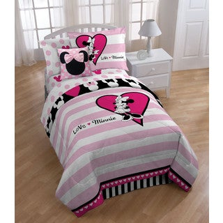 Disney Minnie Classic Hearts and Dots Reversible Full 3-piece Comforter Set