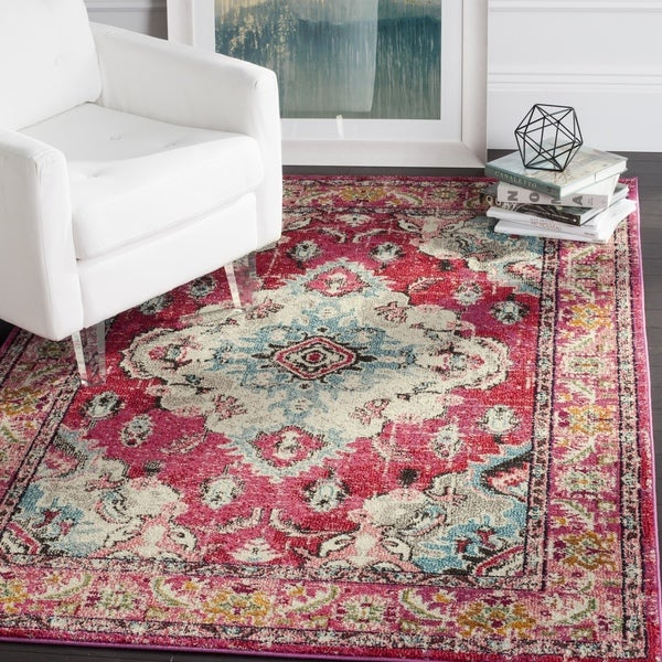 Safavieh Monaco Bohemian Medallion Pink/ Multicolored Distressed Rug - 11' x 15'