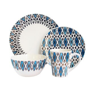 American Atelier Paragon Diamond Metallic Blue and Gold Earthenware 16-piece Dinnerware Set