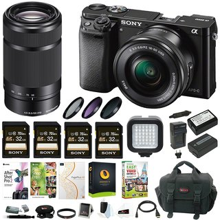 Sony Alpha a6000 Mirrorless Camera (black) w/ 16-50mm & 55-210mm Lens & Four 32GB SD Cards Bundle