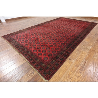 Red Wool-on-wool Hand-knotted Oriental Persian Balouch Rug (7'9 x 13')