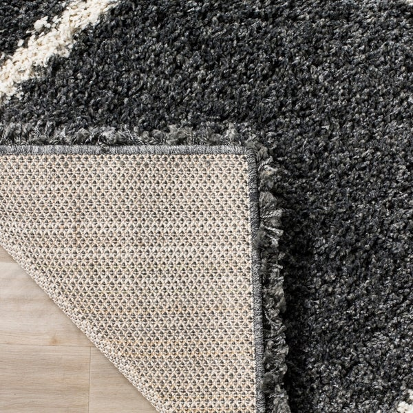 Shop Safavieh Hudson Diamond Shag Dark Grey/ Ivory Rug