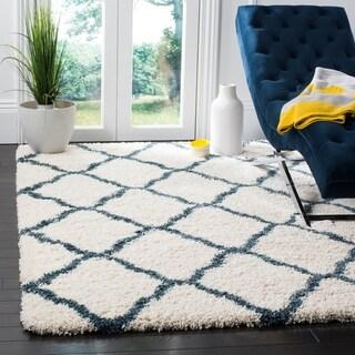 Safavieh Hudson Shag Moroccan Trellis Ivory/ Slate Blue Rug (6' x 9')