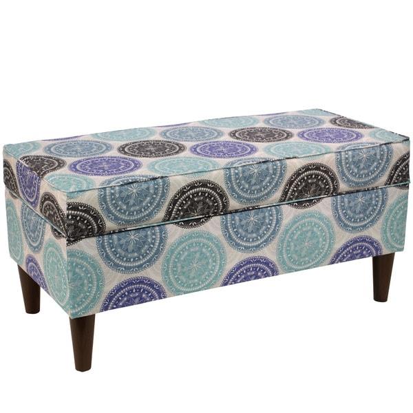 Skyline Furniture Blue Medallion Print Storage Bench
