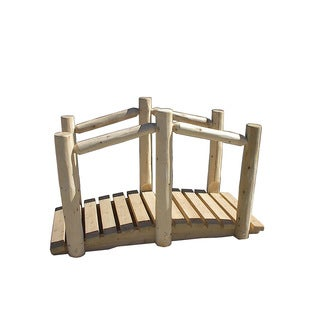 Rustic White Cedar Log Decorative Garden Bridge