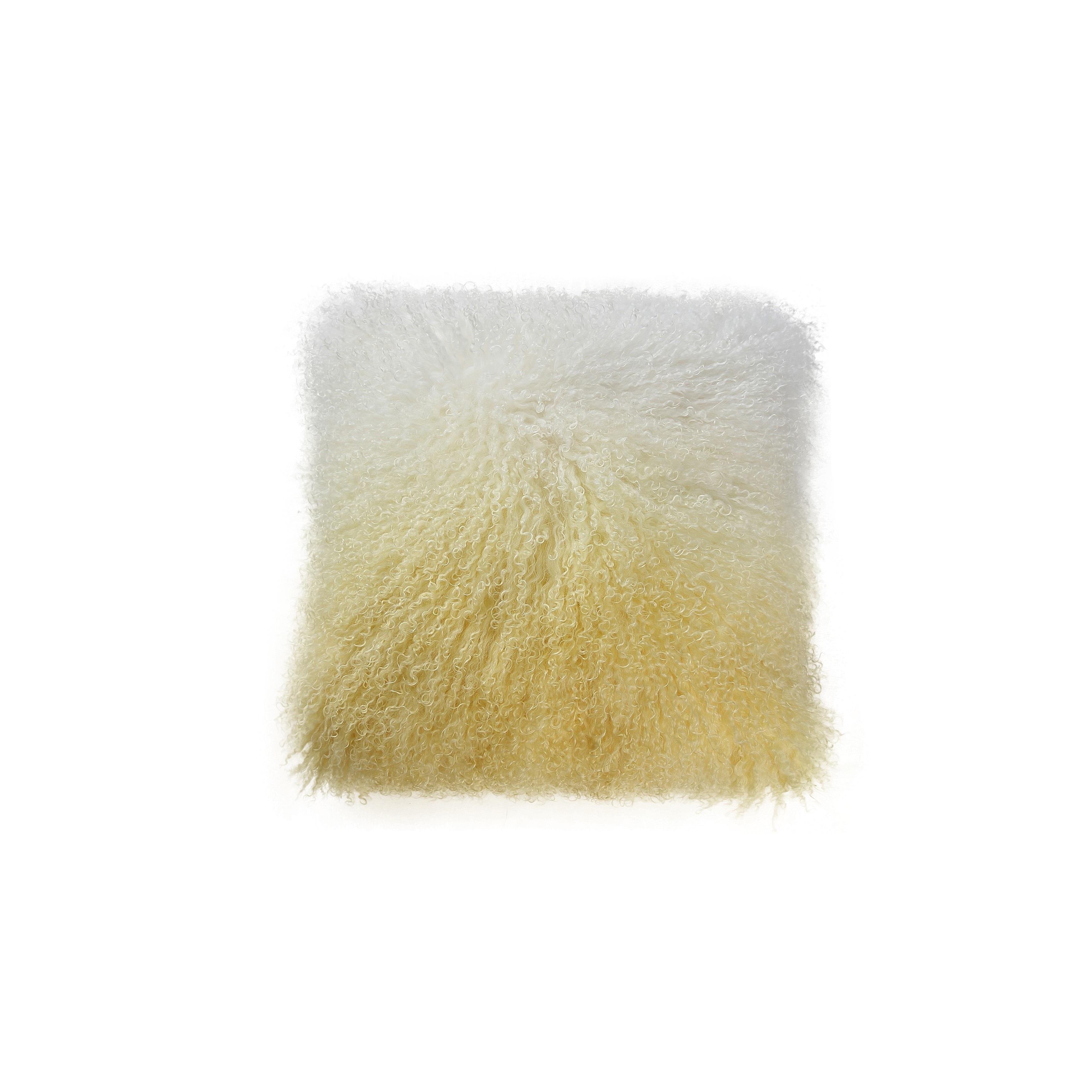 Aurelle Home Soft Yellow Mongolian Lamb Throw Pillow (Yel...