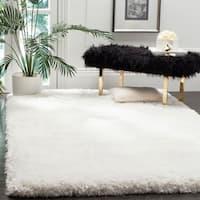 Safavieh Handmade Luxe Shag Super Plush Ivory Polyester Rug - 5' x 8'