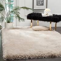 Safavieh Handmade Luxe Shag Super Plush Bone Polyester Rug (5' x 8')
