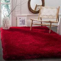Safavieh Handmade Luxe Shag Super Plush Red Polyester Rug - 5' x 8'