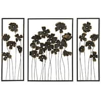 Urban Designs 'Wild Flowers' 32-inch Metal Outdoor 3-panel Wall Art