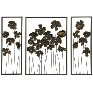 Urban Designs 'Wild Flowers' 32-inch Metal Outdoor 3-panel Wall Art