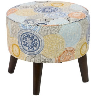 Skyline Furniture Painterly Medallion Print Round Ottoman