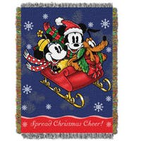 ENT 051 Mickey's Sleigh Ride Tapestry Throw