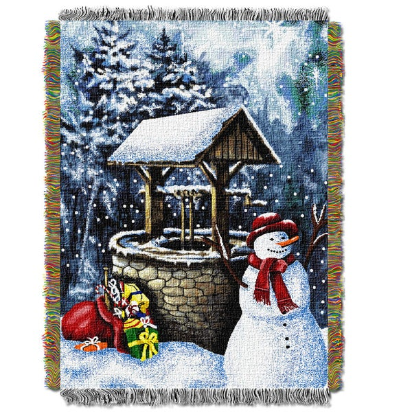 ENT 051 Snowman Wishing Well Tapestry Throw