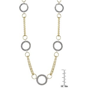 Luxiro Two-tone Sterling Silver Hammered Circle Station Necklace