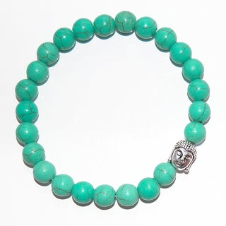 Turquoise Stretch Cord and Silver Colored Buddha Charm Bracelet