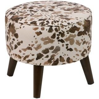Skyline Furniture Brown Cowhide Print Fabric Ottoman