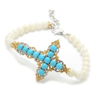 Michael Valitutti Palladium Silver Sleeping Beauty Turquoise and White Bamboo Coral Beaded Bracelet