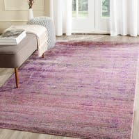 Safavieh Valencia Lavender/ Multi Overdyed Distressed Silky Polyester Rug - 6' x 9'