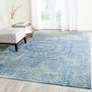 Safavieh Valencia Blue/ Multi Center Medallion Distressed Silky Polyester Rug (6' x 9')