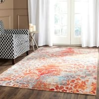 Safavieh Valencia Multi Abstract Distressed Silky Polyester Rug (6' x 9')