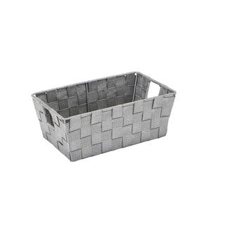 Simplify Small Lure Striped Woven Storage Bin in Grey/ Silver