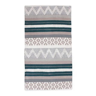 Thro by Marlo Lorenz Jayden Blue/Teal Cotton Textured Rug (2' x 4')