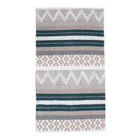 Thro by Marlo Lorenz Jayden Blue/Teal Cotton Textured Rug - 2' x 4'