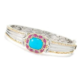 Michael Valitutti Palladium Silver Sleeping Beauty Turquoise and Ruby Bangle 6.5''