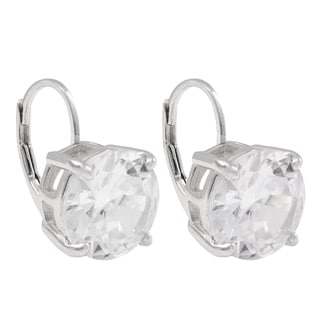 Luxiro Sterling Silver 10-mm Cubic Zirconia Round Leverback Earrings