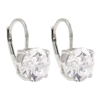 Luxiro Sterling Silver 8-mm Cubic Zirconia Round Leverback Earrings