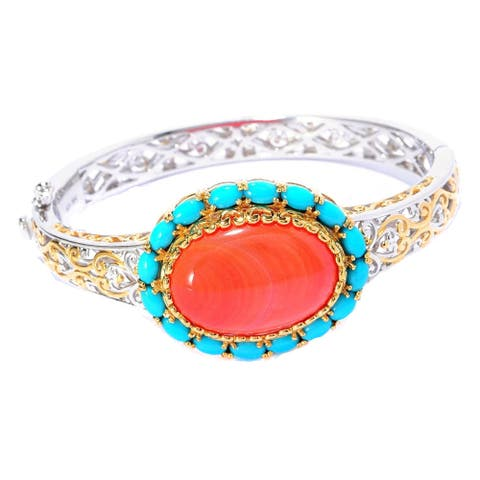 Gems en Vogue Palladium Silver Sleeping Beauty Turquoise Halo with Salmon Bamboo Coral Bangle