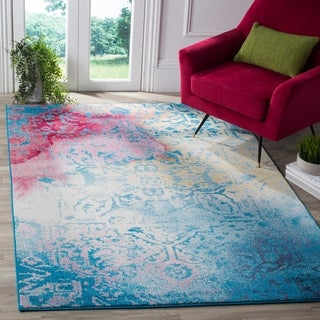 Safavieh Watercolor Bohemian Medallion Light Blue/ Light Yellow Rug (6' 7 x 9')