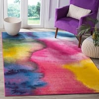 Safavieh Watercolor Contemporary Green/ Fuchsia Rug - 5'3 x 7'6